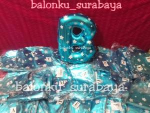 balon foil huruf polkadot biru