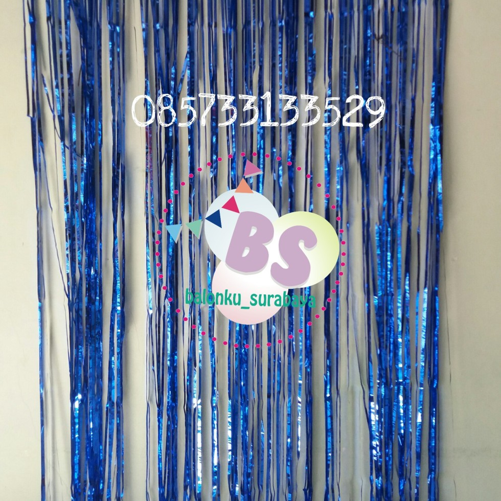 foil curtain biru, backdrop ulang tahun, balon doff, balon latex doff, balon ulang tahun, balon dekorasi, balon foil, balon metalik, balon twist, balon latex, balon huruf, balon angka, supplier balon, dekorasi balon, sablon balon, confetti, bendera ulang tahun, balon LED, lampion terbang