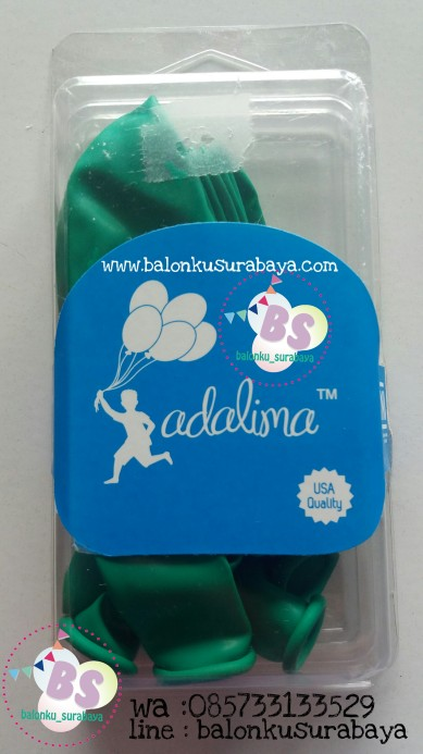 balon latex adalima warna hijau mint crystal, balon doff, balon metalik