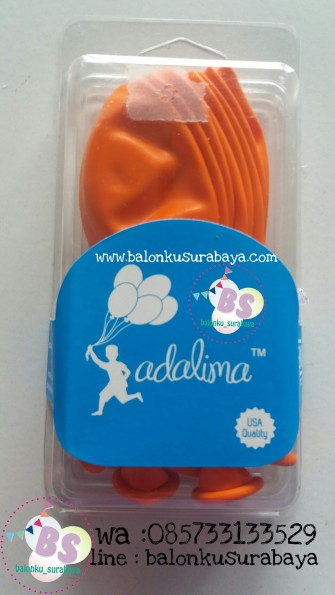 Balon latex adalima warna orange crystal, balon doff, balon metalik