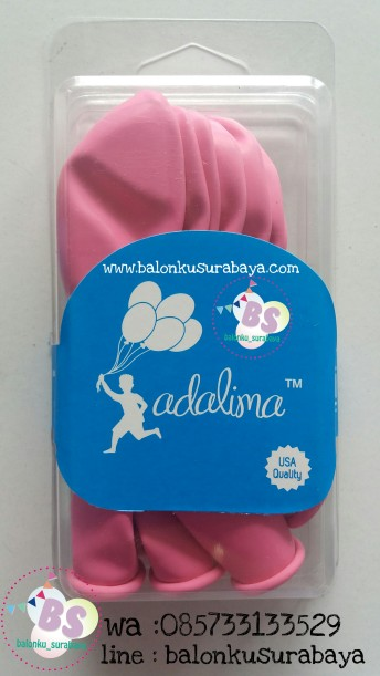 Balon latex adalima warna pink rose crystal, balon doff, balon metalik