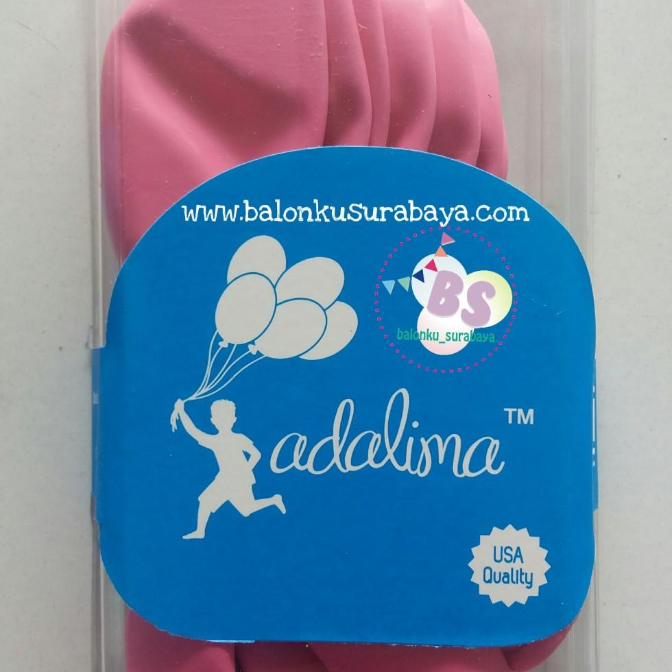 Balon latex adalima warna pink rose crystal, balon doff, balon metalik