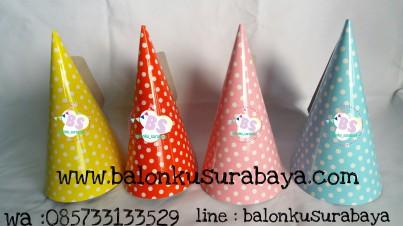 topi ulang tahun, topi kerucut, topi ulang tahun polkadot