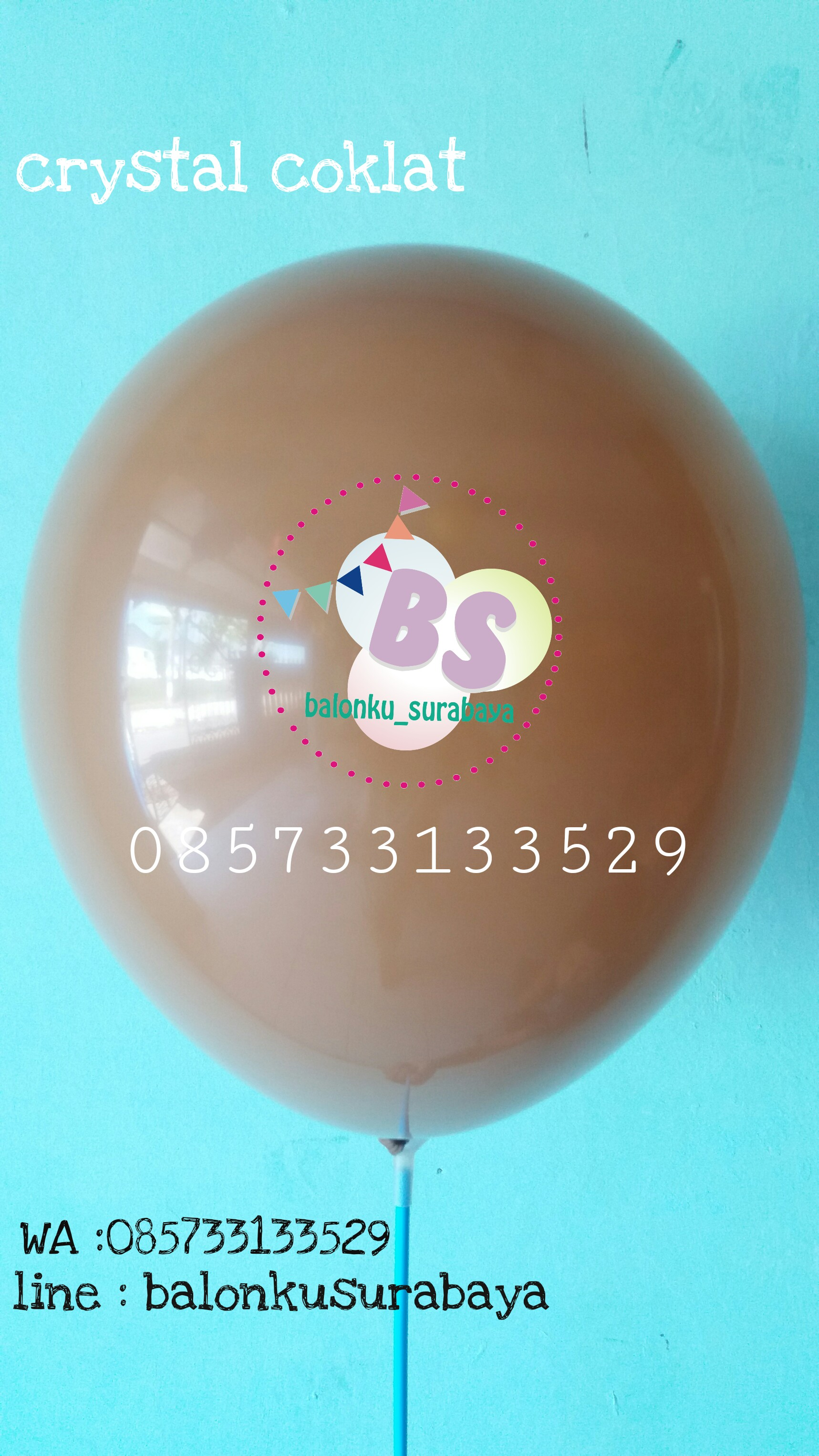 Balon crystal, balon doff, balon metalik, balon gas, balon dekorasi, balon surprise, balon latex coklat