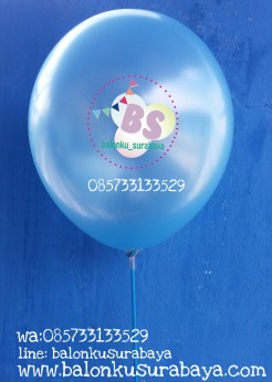 balon latex, balon metalik, balon latex metalik biru muda
