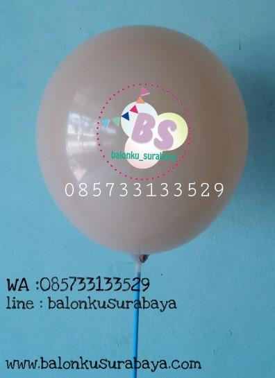 Balon crystal, balon doff, balon metalik, balon gas, balon dekorasi, balon surprise, balon coklat muda, balon untuk kepala