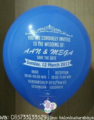 Balon sablon, balon print, undangan pernikahan unik, undangan pernikahan murah