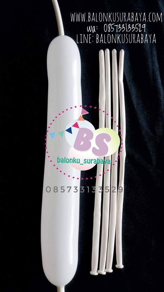 Balon Panjang, Balon Twist, Balon Pentil Warna Putih, dekorasi balon, balon promosi, distributor balon, party planner
