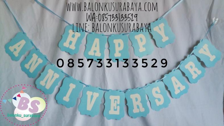 Bunting flag happy anniversary, Bendera happy anniversary, tulisan dinding happy anniversary, dekorasi balon, distributor balon, balon sablon,balon gas