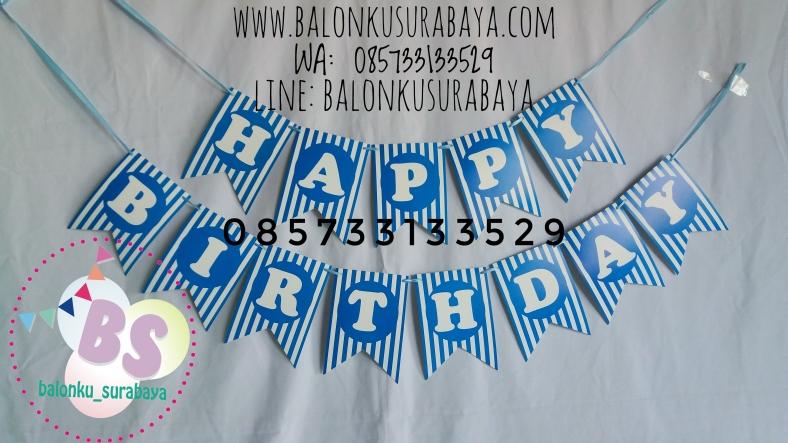 Bendera ulang tahun happy birthday, g happy birthday, tulisan dinding happy birthday, distributor balon, dekorasi balon, balon sablon, balon gas