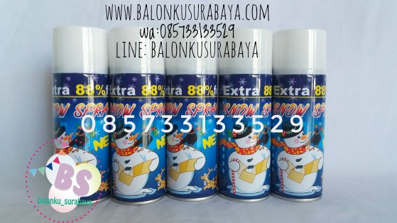 Snow spray, party planner, dekorasi balon, distributor balon, balon print, balon promosi, balon gas