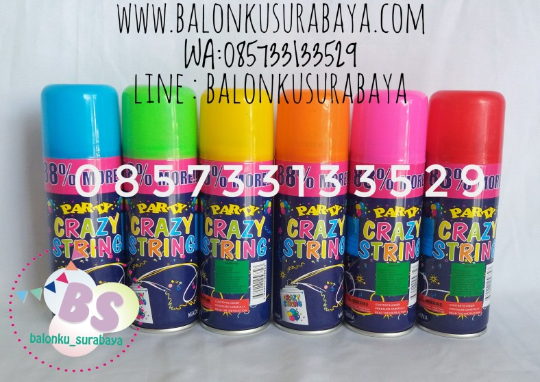 String spray, party planner, dekorasi balon, distributor balon, balon print, balon promosi, balon gas