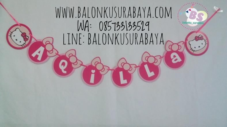 Bunting Flag Nama, Bunting Flag Hello Kitty, dekorasi balon, distributor balon, balon print, balon promosi, balon gas