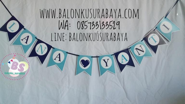 Bunting Flag Custom Nama, party planner, dekorasi balon, distributor balon, balon print, balon promosi, balon gas