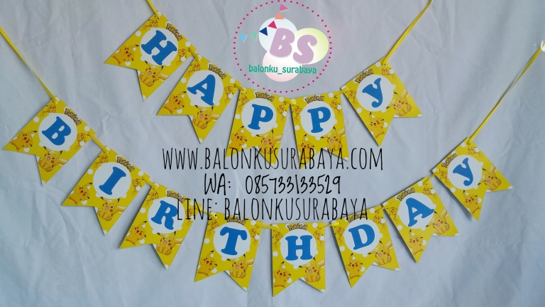 Bunting Flag Custom Nama, Bunting flag pokemon, party planner, dekorasi balon, distributor balon, balon print, balon promosi, balon gas