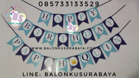 Bunting Flag / Flag Banner / Tulisan Dinding Custom Happy Birthday Papah Quin