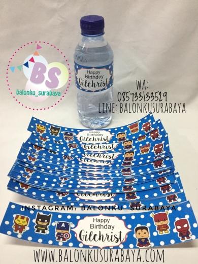 Stiker air mineral, stiker label sweet corner, souvernir ultah