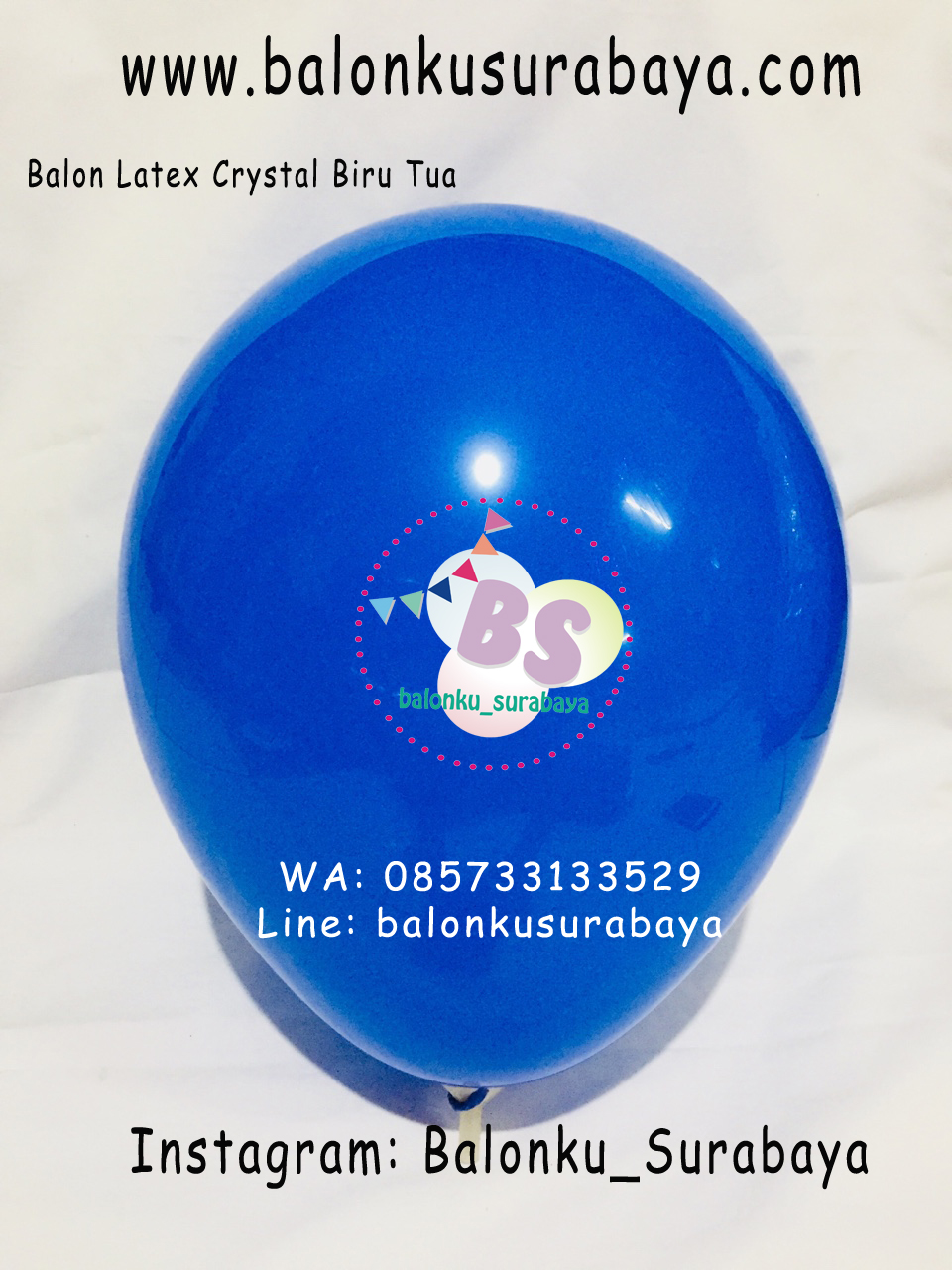 Balon latex Crystal Warna Biru Tua
