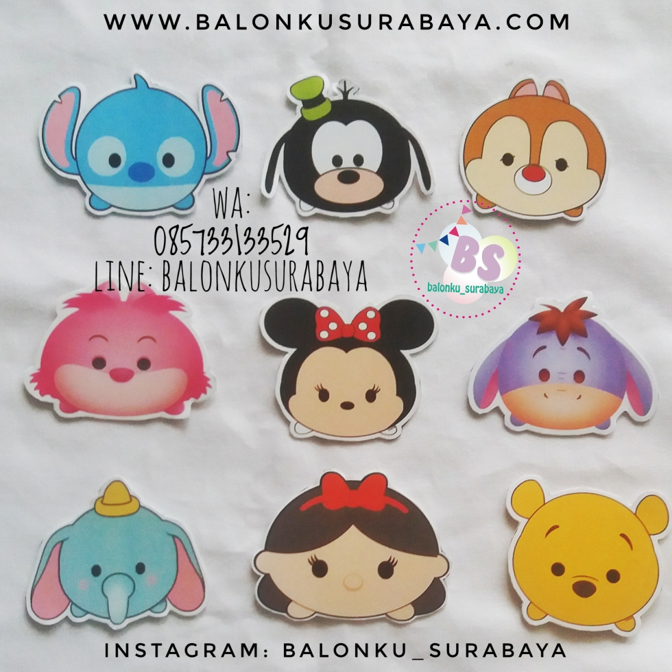 Jual topper cake karakter tsum tsum, Jual Balon tongkat karakter, Jual balon foil, Jual balon latex, Balon sablon, Balon Custom, Dekorasi balon, Balon Promosi, Balon gas surabaya