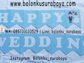 , jual tulisan dinding happy wedding, jual balon gas, toko balon surabaya, alamat toko balon, balon promosi, balon sablon, balon gate, balon print, dekorasi balon, balon dekorasi, balon ulang tahun, supplier balon, balon print