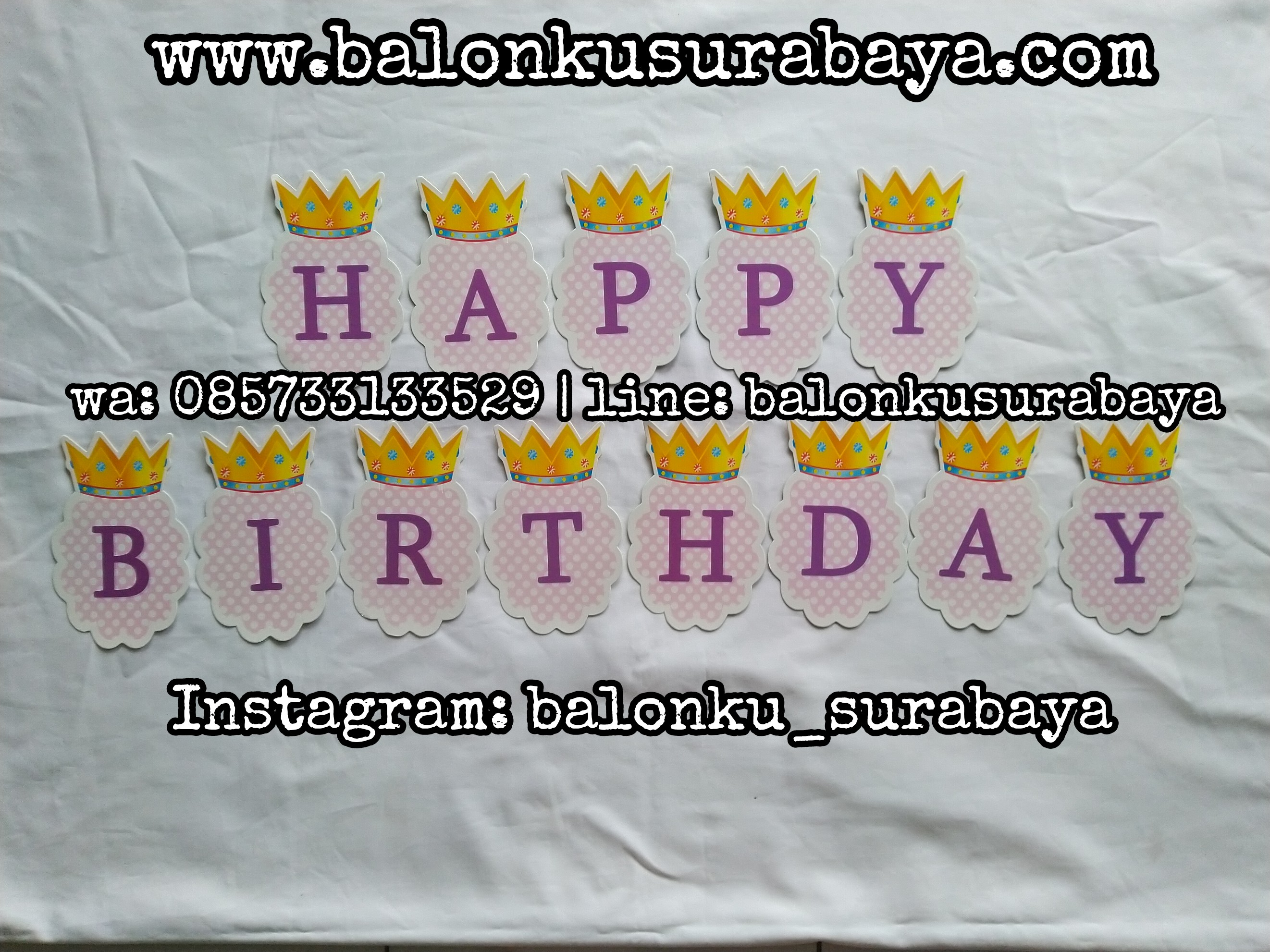 085733133529, falg banner happy birthday, bunting flag happy birthday, tulisan dinding happy birthday, ulang tahun anak, balon tepuk, balon sablon, balon custom