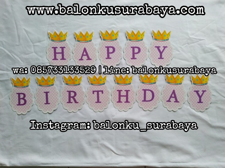 085733133529, falg banner happy birthday, bunting flag happy birthday, tulisan dinding happy birthday, ulang tahun anak, balon tepuk, balon sablon, balon custom