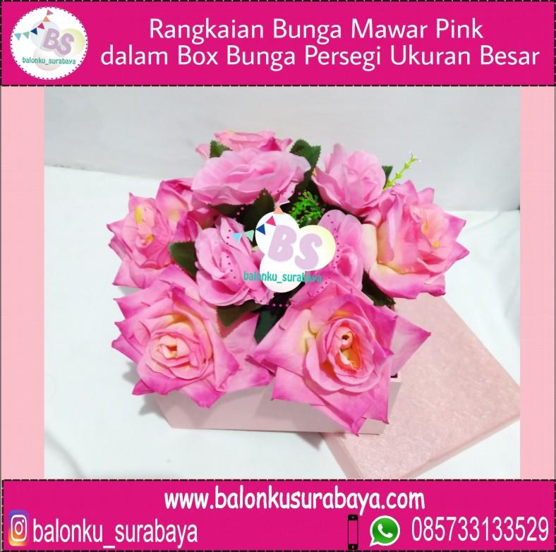Rangkaian Bunga Mawar Pink Dalam Box Bunga Persegi Ukuran Besar